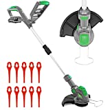 Gracious Gardens Cordless Strimmer Trimmer 1 Battery & 10 Spare...