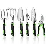 Ougenni Garden Tools Set,6 Pieces Outdoor Gardening Hand Tool...