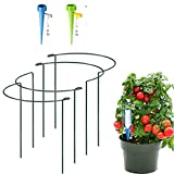 4 Pack Half Round Garden Plant Support Stakes, Metal Bow Type...