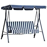 Outsunny 3 Seater Canopy Swing Chair Heavy Duty Outdoor Garden...