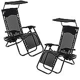 FiNeWaY 2 x Folding Zero Gravity Sun Lounger Textoline Chair...