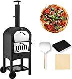 UNIONLINE Outdoor Wood Fire Pizza Oven with Waterproof Cover and...