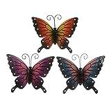 Butterflies - 3 Coloured Outdoor Large Metal Butterfly - Garden...