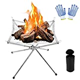 Vinclus Portable Camping Fire Pit,Collapsing Stainless Steel...