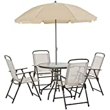 Outsunny Garden Patio Texteline Folding Chairs Plus Table and...