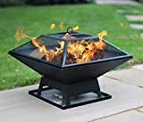 Outdoor Square Fire Pit | Garden Burning Heater | Barbeque Grill...