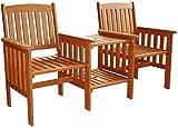 garden mile Hardwood Garden Love Seat Patio Companion Chair...