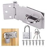 Door Latch Hasp with Door Padlock and Screws, Stainless Steel...
