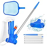 Swimming Pool Vacuum Cleaner & Pool Skimmer Net Set with 5 Pole...