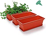 MMBOX 3 Packs 17 Inches Terracotta Color Flower Window Box...