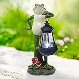 Goodeco Solar Garden Statue of Frog figurine with Solar...