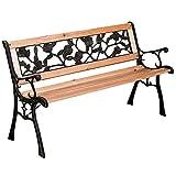 3 Seater Metal Garden Park Bench Outdoor Wooden Patio Furniture...