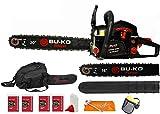 BU-KO 62cc Petrol Chainsaw 3.4HP 20' Bar & 2 x Chains + 16' Bar &...