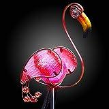 Garden Mile Solar Power Pink Flamingo Glass & Metal Garden...