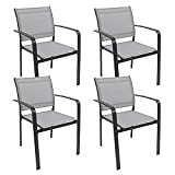 Garden Dining Chairs Set of 4, Stackable Garden Chairs with...