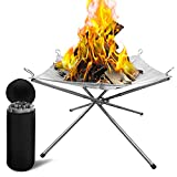 Dcola Portable Outdoor Fire Pit Camping with Carrying Bag...