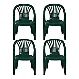simpahome Stackable Clam Style Back Plastic Garden Chairs - GREEN...