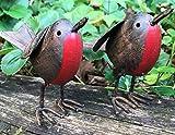Animal Crackers SET 2 metal tin ROBIN garden ornament hand...