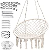 Ohuhu Swing Chair Macrame Hanging Chair with Heavy Duty Hanging...