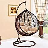 Large Brown Hanging Rattan Swing Patio Garden Chair Weave Egg...