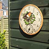 Smart Garden 5064002 Outside In Robin Wall Clock & Thermometer...