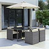 Fortrose Grey Rattan Cube Garden Dining Set - 4 Seater - Parasol...