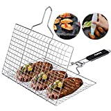 ACMETOP Portable BBQ Grill Basket, Stainless Steel Fish Grill...