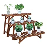 unho Wood Plant Ladder Bench,3 Tiered Plant Stand Step Planter...