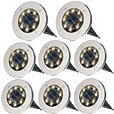 ZFITEI Solar Ground Lights,Disk Lights Solar Powered - 8 LED...