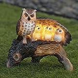 Globrite Solar Family Owl Light Mother Children Wing Log Statue...