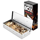 BBQ Smoker Box,Stainless Steel Gas BBQ Smoke Box for Wood...
