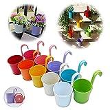 GIOVARA Metal Flower Pot Vase Bucket Hanging Garden Planter with...