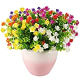 Artificial Flowers,6 Bundles Artificial Plants Outdoor and...