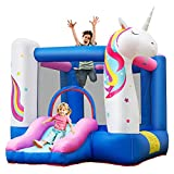 COSTWAY Kids Bouncy Castle, Inflatable Bouncer House with Slide,...