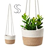 Hanging Rope Planter Basket, 2 Pack Cotton Rope Woven Plant...