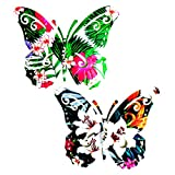 Metal Butterfly Ornaments Wall Art Decor Outdoor, 2 Pack Colorful...