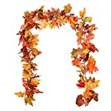 YQing 2 Pack Artificial Maple Leaf Garlands, 5.9 ft/Piece Autumn...