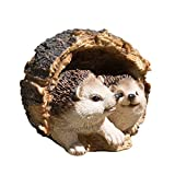 ProdBuy Home Cute Hedgehogs In Log Resin Garden Ornamen