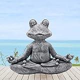 Goodeco Meditating Frog Statue Garden Ornament Outdoor Buddha Zen...