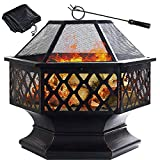 GRANDMA SHARK Outdoor Fire Pit, Hex Iron Fire Bowl Fireplaces for...