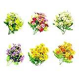 Artificial Fake Silk Flowers 6 Bundles of 6 Colors Outdoor UV...