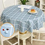 Round Table Cloth PVC Wipe Clean Tablecloth 120cm Blue Checked...