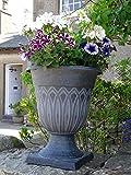 Large Plastic Black Silver Round Garden Urn Plant Pot Planter...