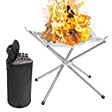 Pelle & Sol Portable Steel Mesh Camping Fire Pit for Wood Burning...