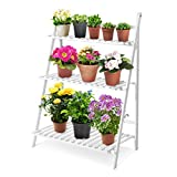 3 Layer Wooden Plant Pots Stand, Foldable Flower Pots Bamboo Rack...