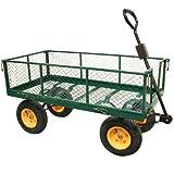 Rhyas Heavy Duty Garden Trolley Cart Wheelbarrow Quad Trailer X...
