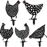 5 Pieces Metal Chicken Yard Garden Decoration Decorative Garden...