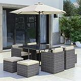 Fortrose 8 Seater Grey Rattan Cube Garden Dining Set - Parasol...