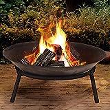 Large Cast Iron Garden Fire Pit Basket Patio Heater Log Wood...