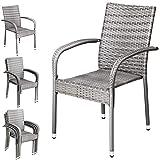 CASARIA Poly Rattan Garden Chairs 4 Pieces Set Dining Seats...